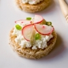 Mini Radish Ricotta and Green Onion Tartines