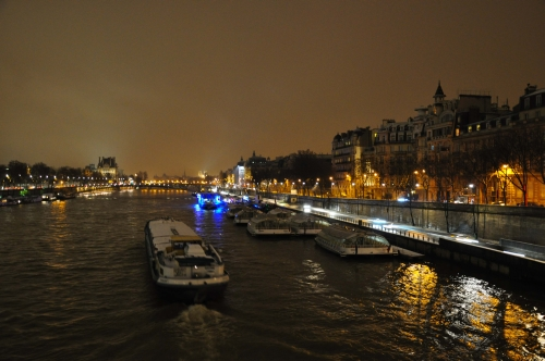 Seine in the Snow at Night Paris