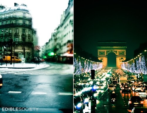 Rue du Bac and Arc de Triomphe at Night